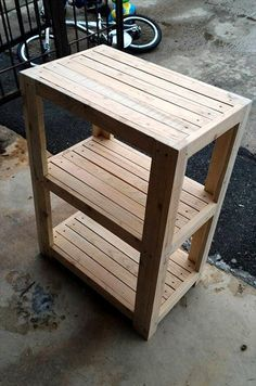 Rustic 3 Tier Pallet Bedside Table