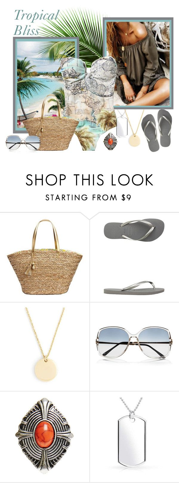 """""""Tropical Bliss"""" by citkat777 ❤ liked on Polyvore featuring Lilly Pulitzer, Havaianas, J.Crew, Retrosun, Wet Seal and Bling Jewelry"""