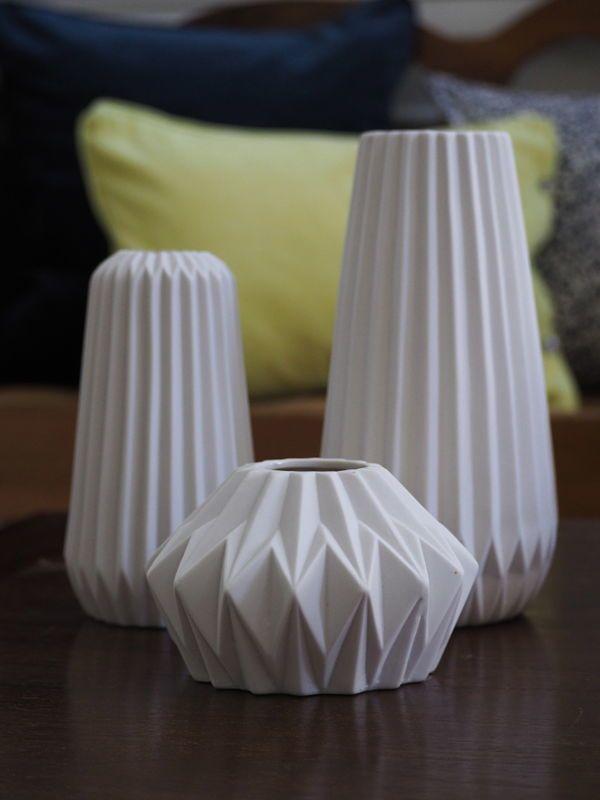 Ribbed Vase - Tall White in 2019 | Hübsch - Danish ...