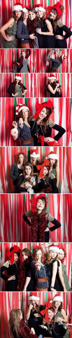 Photo booth backdrop. Red and gold streamers