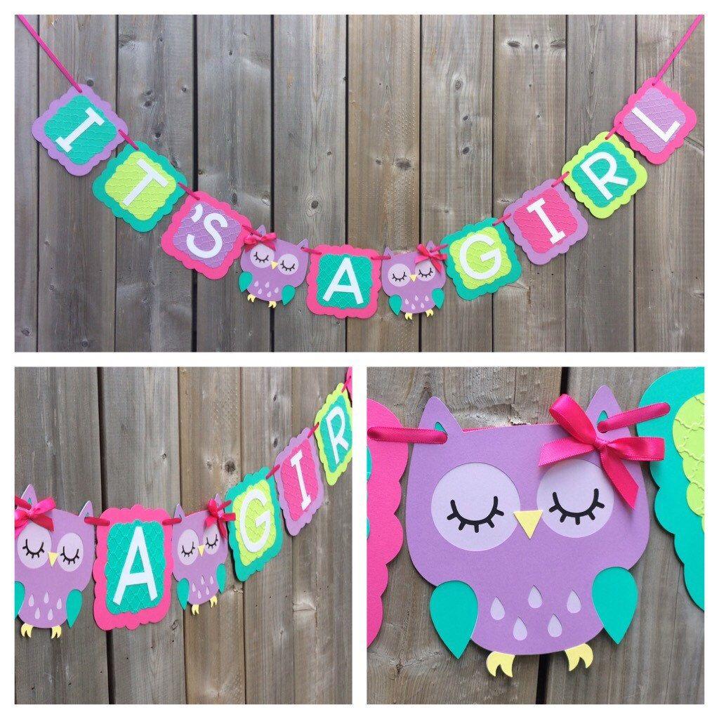 owl banner baby shower decoration pink purple green owl baby shower