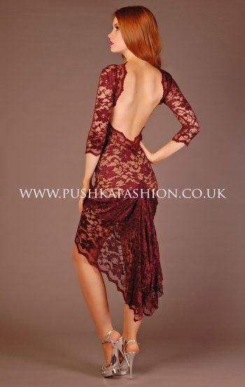 764def60e05d Love this backless lace dress! Designer Kevan Jon Plum Backless Lace Riley  Dress with Nude Lining. Pushka Fashion