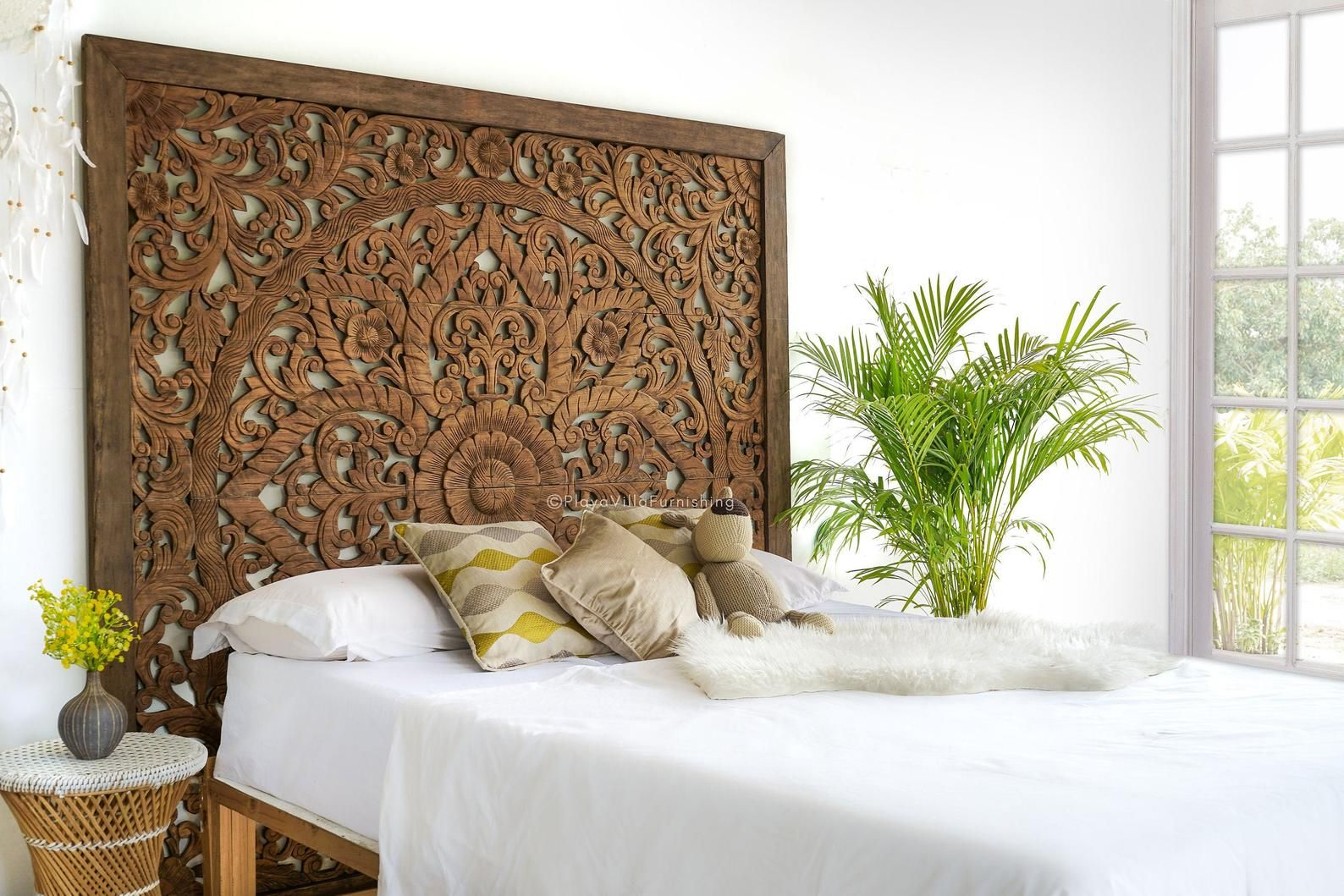 King Bed Headboard with Frame Wood Carving, Mounted Wall