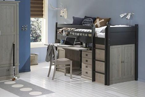 Halfhoogslaper alta bed met lattenbodem trap kast trap en bureau
