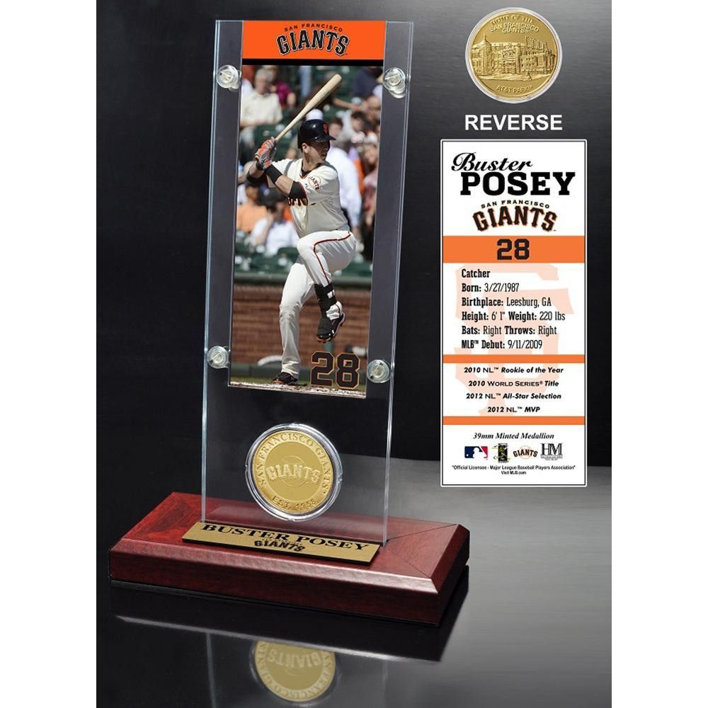 Buster Posey Ticket & Minted Coin Acrylic Desk Top