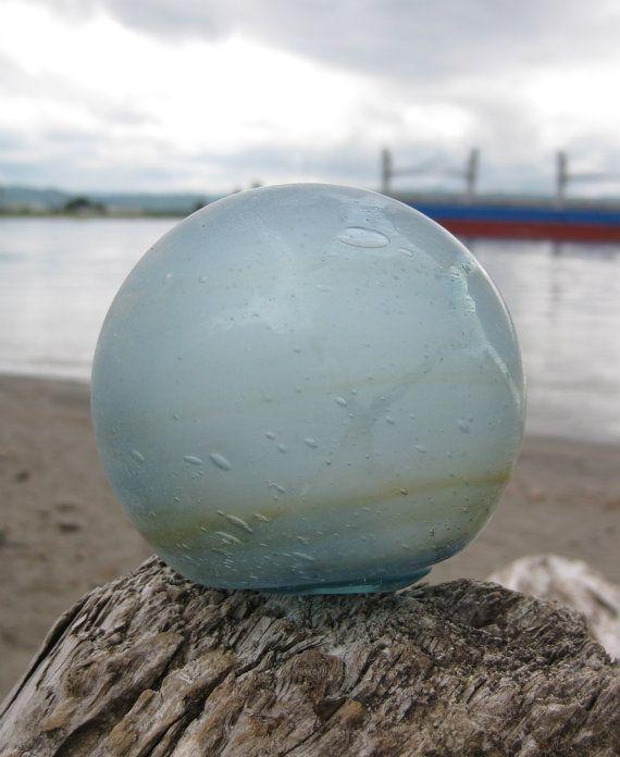 """Japanese Glass Fishing Float - 3"""" diameter,Net Marks ..."""
