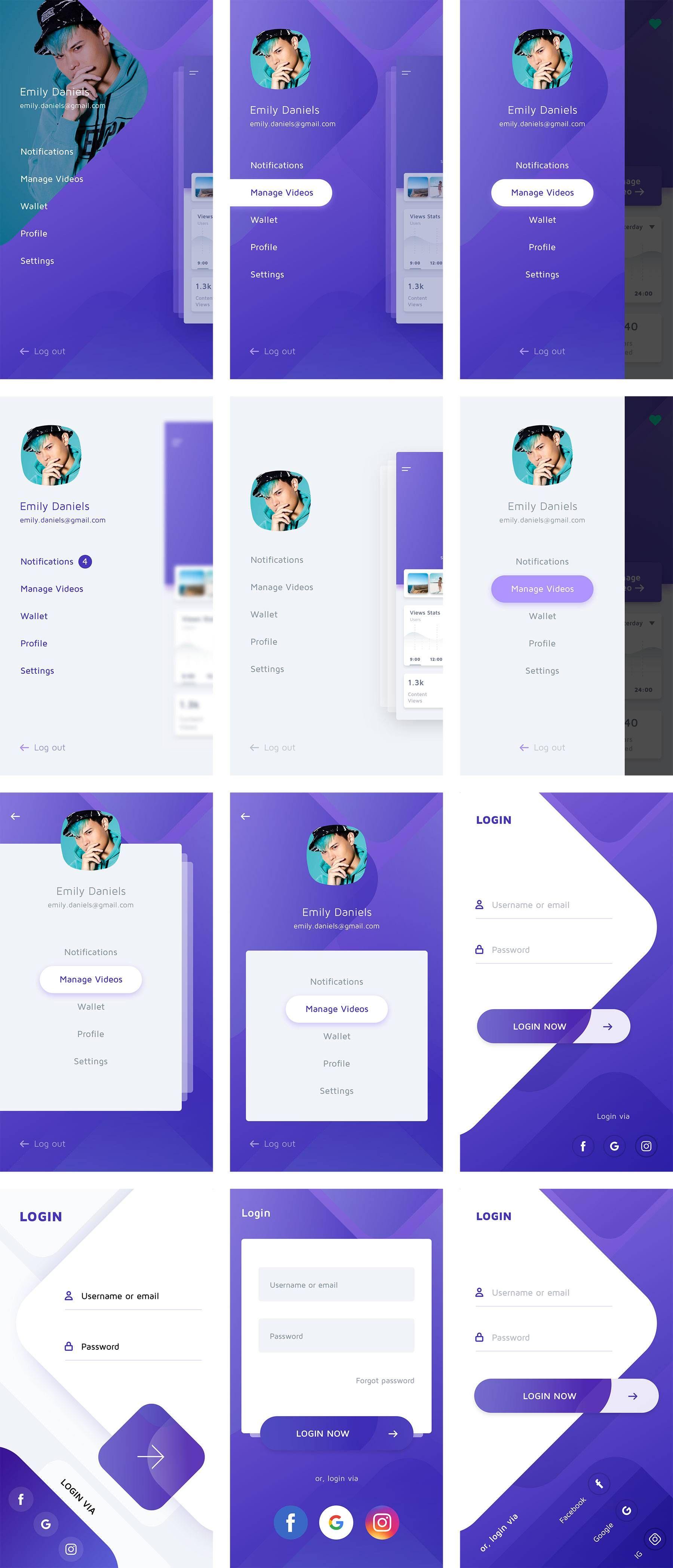 多种APP侧边导航&登录界面设计sketch 素材下载 UI社 Design de aplicativos