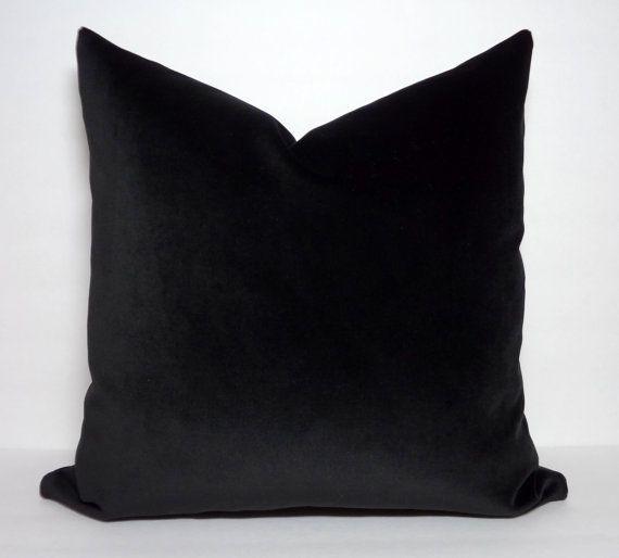 18 x 18 Throw Pillows 18 x 18 Velvet Pillows Pillow Covers Throw Pillows Decorative Pillows Black Velvet Throw Pillow Cover