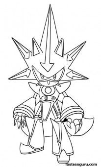 Printable Sonic The Hedgehog Neo Metal Coloring Pages Printable
