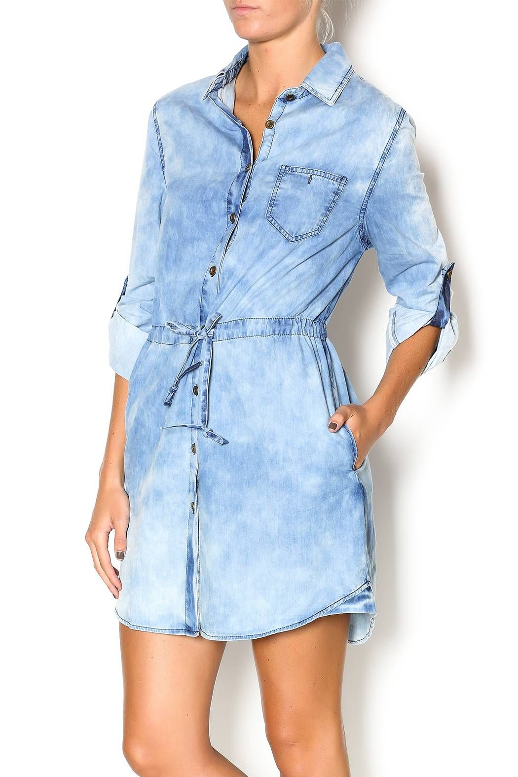 3c9fb9b9706 Acid washed denim shirt dress with tie waist and full button down front  with pocket. Denim Drawstring Dress by Wish Collection.