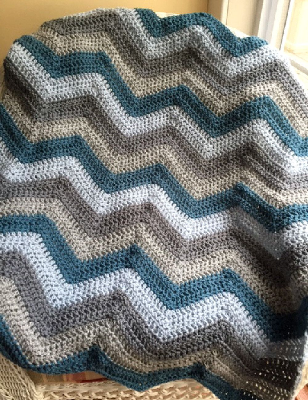 chevron zig zag ripple baby toddler blanket afghan wrap crochet knit ...