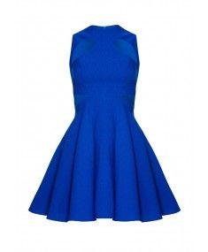Forever Unique - Marley High Neck Blue Skater Dress  e805a1763