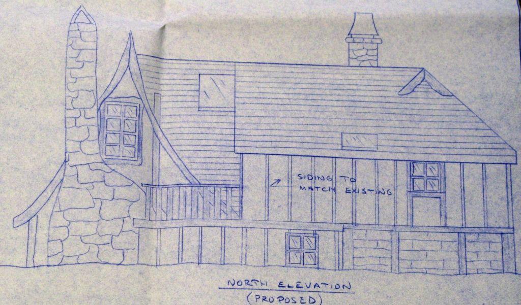 Mt Carmel Cottage blueprint north elevation House Plans – Carmel Cottage House Plans