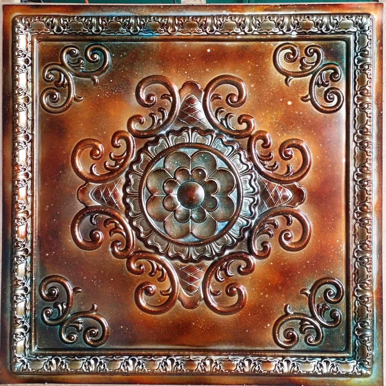 Pl08 Faux Tin Metalized Ancient Copper Patina Ceiling