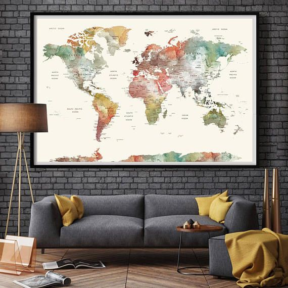 World map poster world map wall art map of the world watercolor world map poster world map wall art map of the world watercolor print watercolor push pin world map print size standard sizes fit in frames found gumiabroncs Gallery
