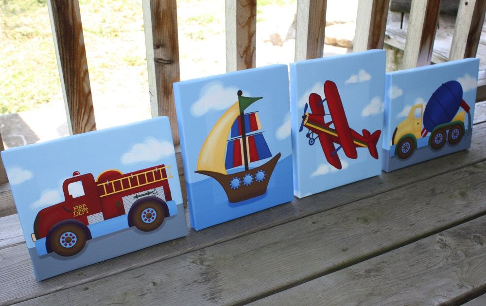 Set Of 4 Transportation Boys Bedroom 8x10 Stretched Canvases Kids Playroom Baby Nursery Canvas Bed Boys Transportation Bedroom Nursery Canvas Toddler Boys Room