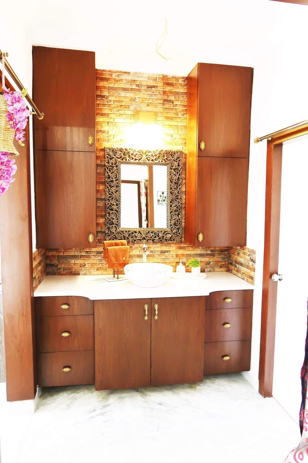Living And Dining Area Wash Basin Area Cabinets Wooden Mirror Washbasin Design Remodel Bedroom Small Bedroom Remodel
