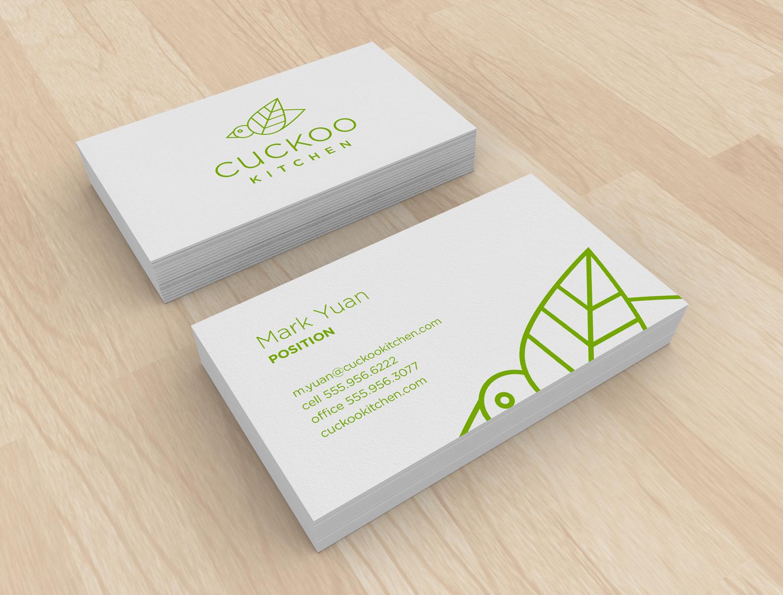 Cuckoo Kitchen Restaurant Branding Longitude Business Card Mock Up Restaurant Branding Branding