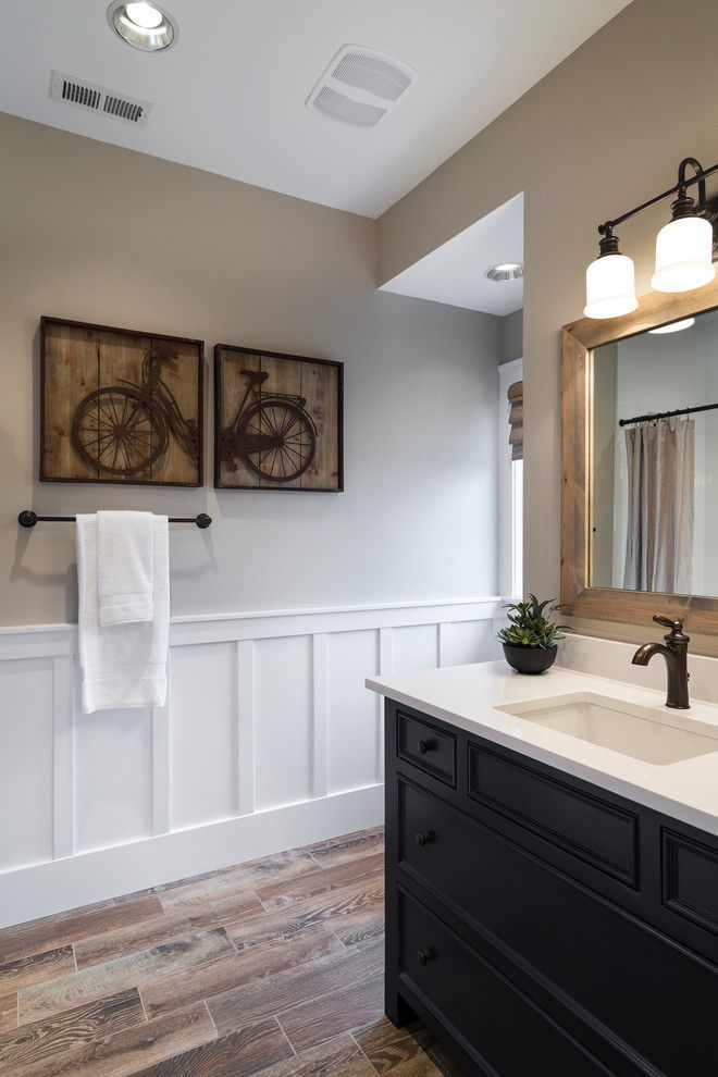 Wall panels bathroom powder room transitional with framed art wood ...