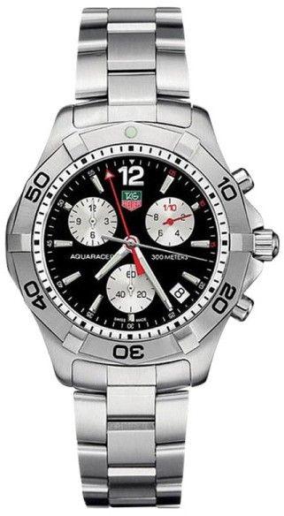 e04c6e52580c Tag Heuer CAF1110 300M Aquaracer Chronograph Black Dial Watch ...