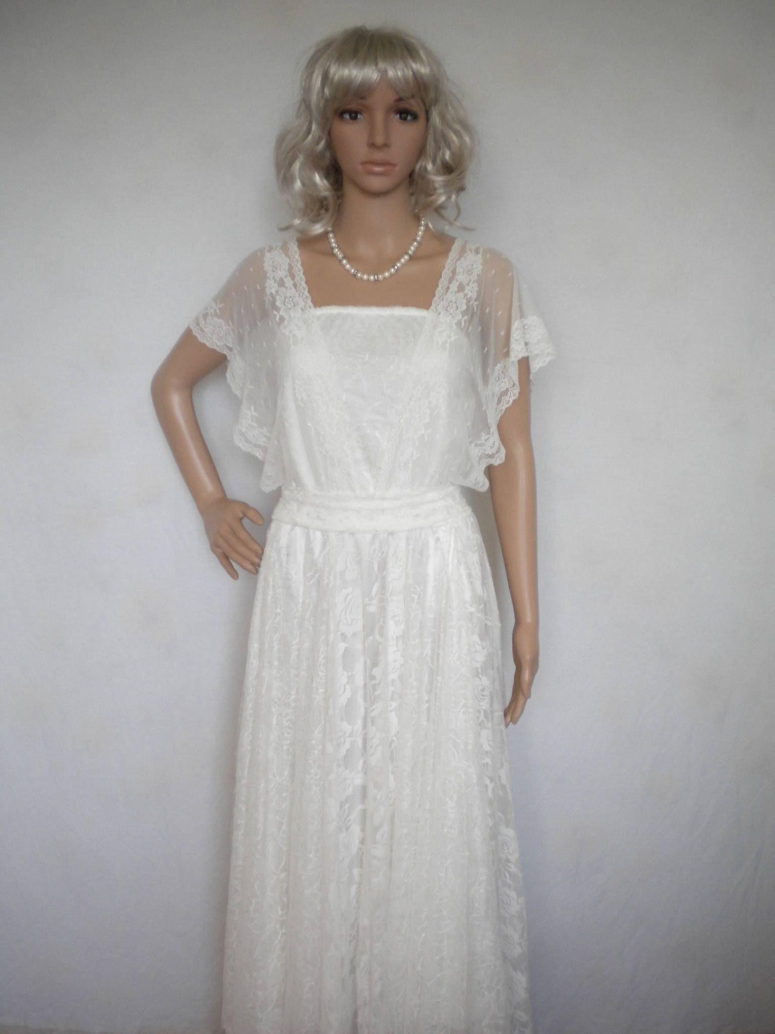 Romantic lace wedding dress faery beach wedding dress boho wedding ...