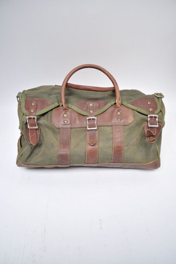 Vintage Duffle Bag Leather Canvas Carry On Small By Goodbyeheart