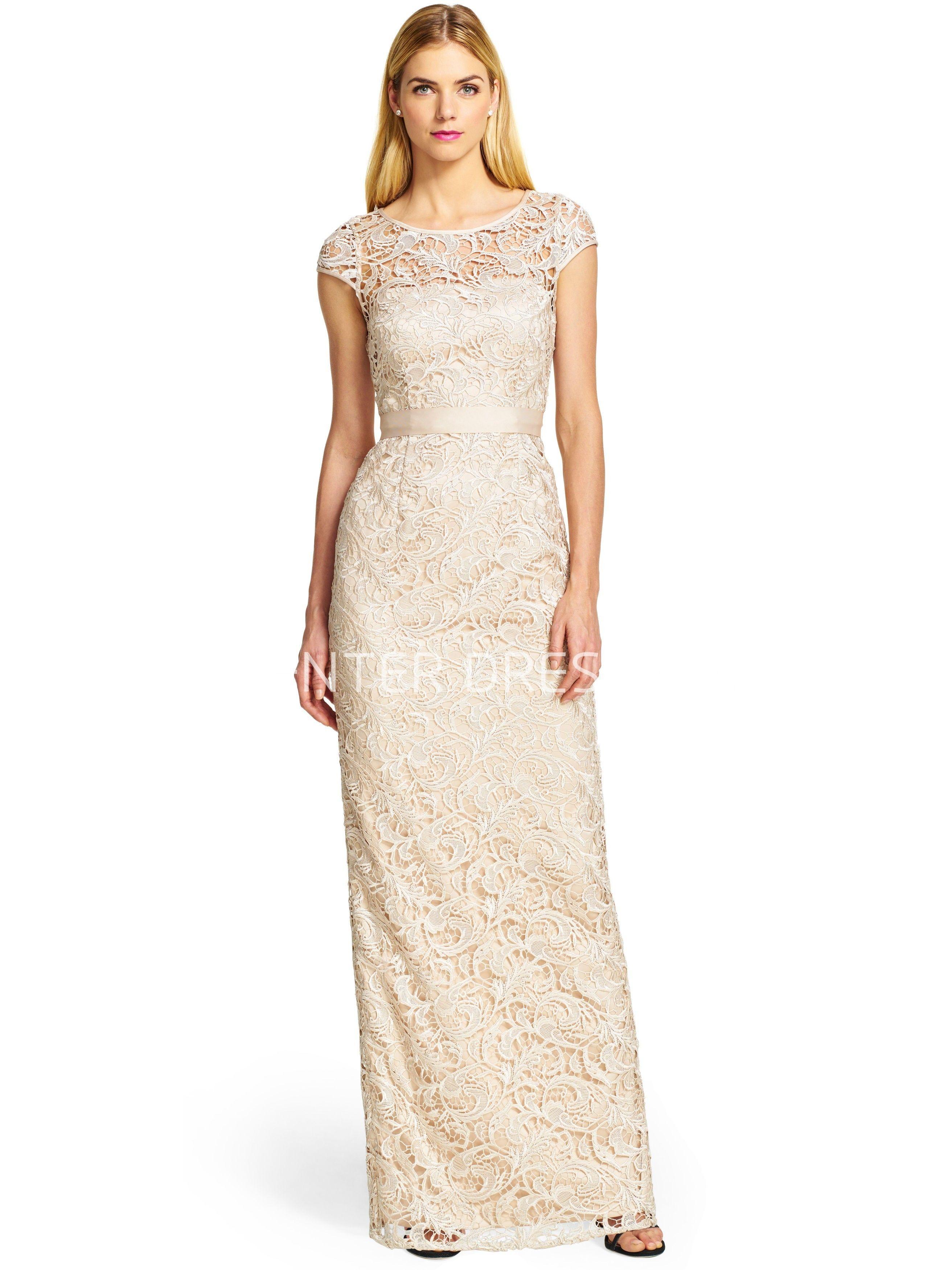$130.69-Elegant Sheath Scoop Neck Cap Sleeve Bowed Lace Bridesmaid Dress. http://www.ucenterdress.com/sheath-floor-length-scoop-neck-cap-sleeve-bowed-lace-bridesmaid-dress-pMK_100185.html.  Shop for long dresses, designer dresses, casual dresses, occasion dresses, backless dresses, elegant dresses, black tie dresses, We have great 2016 fall bridesmaid dress for sale. Avialble in Gold, Yellow, Pink, Lavender Burgundy, Peach…#UCenterDress.com