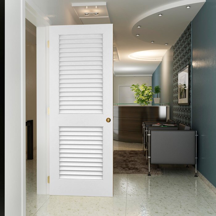 Louvered Solid Wood Primed Standard Door in 2020 White