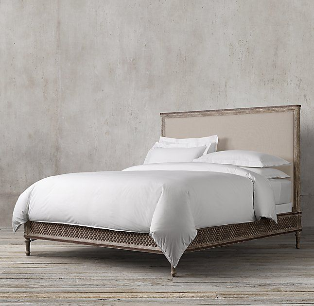 UP FRONT BEDROOM - (1) RH, Louis XVI Treillage KING Bed #63820265 NATL...81w x 86L x 61h FINISH: Weathered Pine  $1660 member