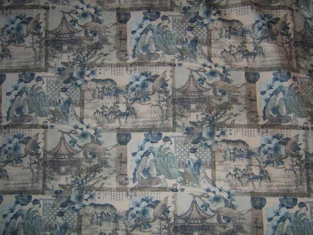 Kelly O/'Neal ships indigo printed linen fabric by the yard peri blue 59x59