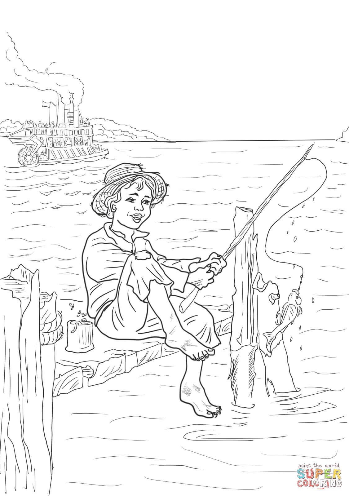 Tom Sawyer Is Fishing In The Mississippi Coloring Page