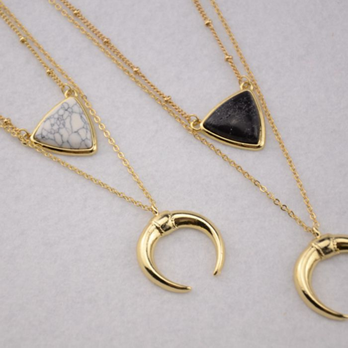 XNR-xl20111/zoete meisje sieraden/Nieuwe Amerikaanse Sieraden Wit Marmer Ingelegd Turquoise multi layer ketting