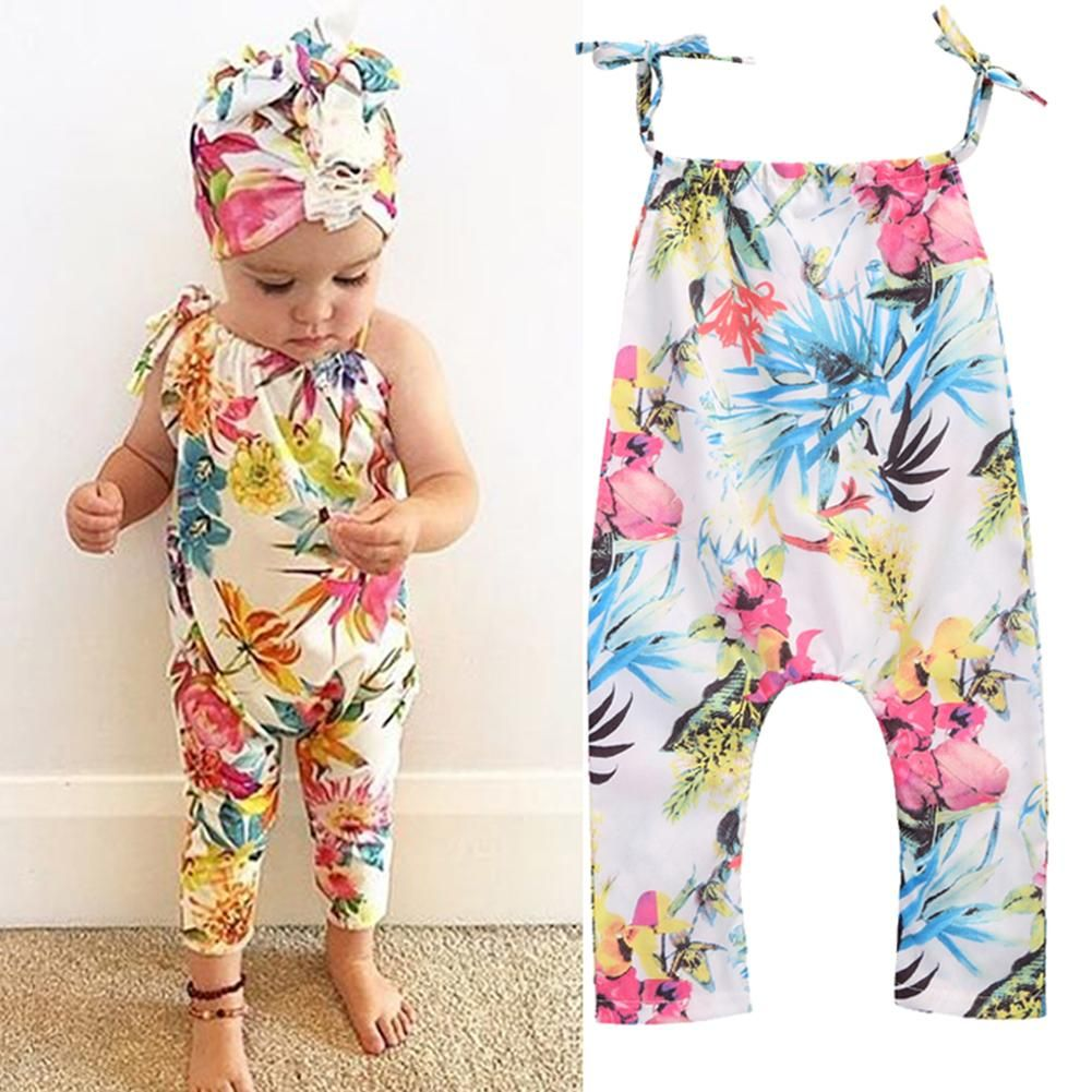 c0456ba94 Baby Girl Clothes Sleeveless Children Girls Floral Printed ...