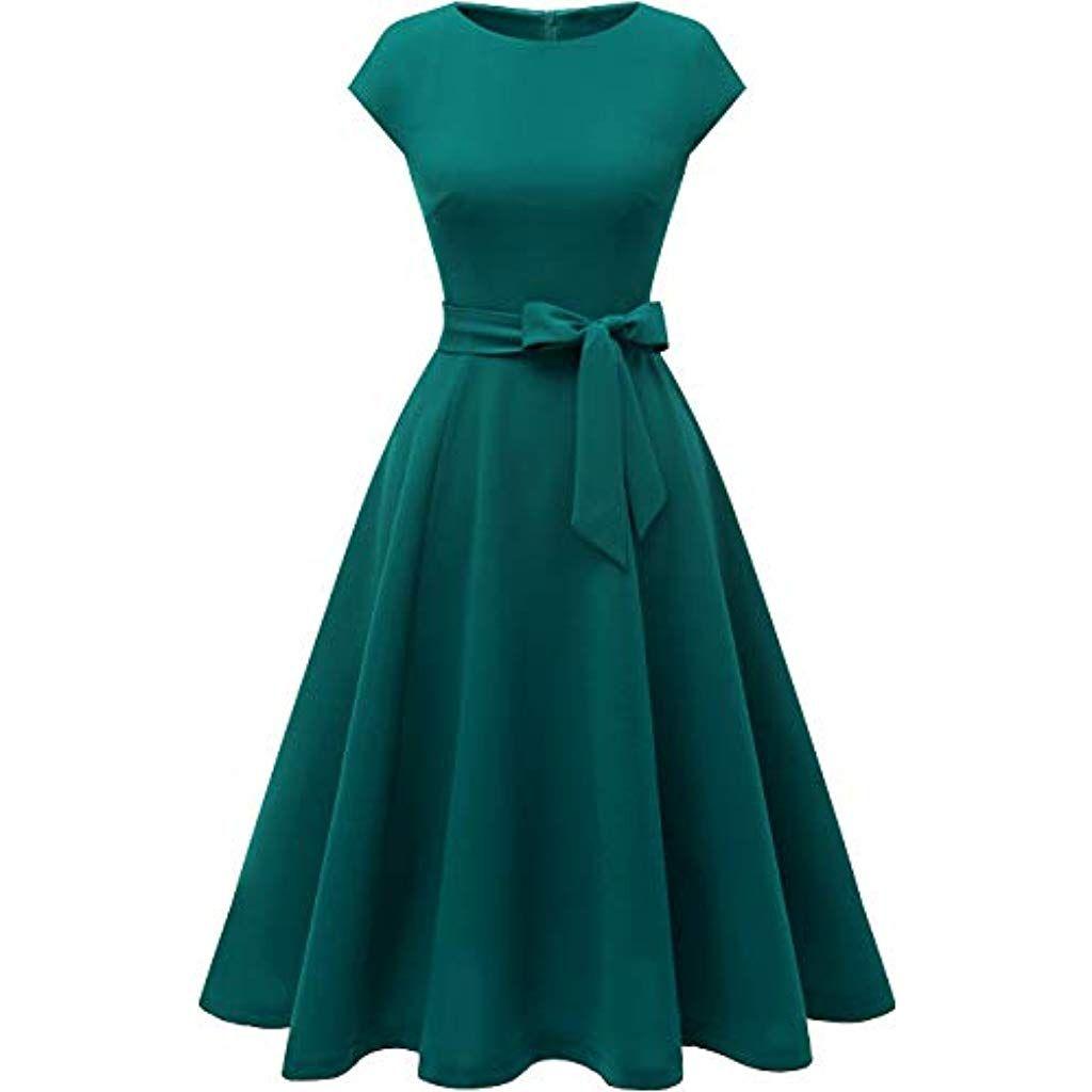 Dresstells Damen Midi Sommerkleid 18er Vintage Rockabilly Kleid
