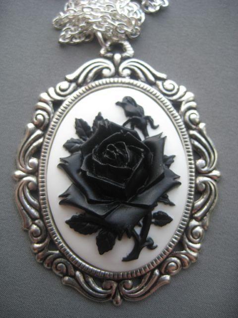60eb43b36f7 black rose jewelry   Black Rose Cameo Necklace - Gothic Jewelry ...