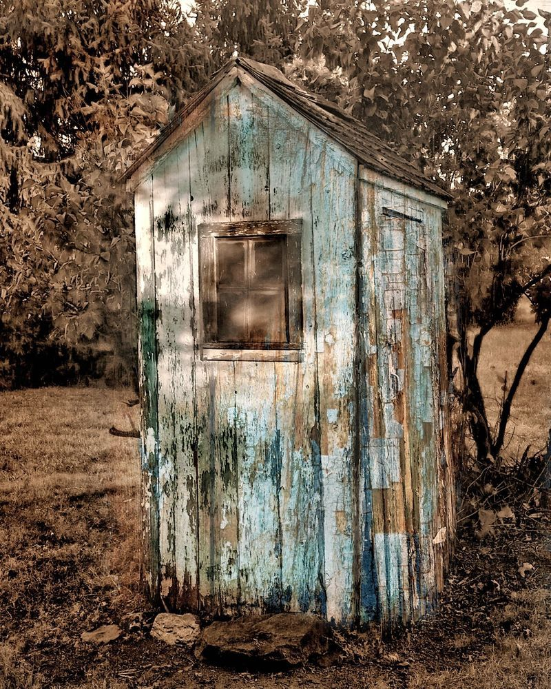 Rustic Outhouse Wall Art Vintage Bathroom Decor Matted Picture Handmade