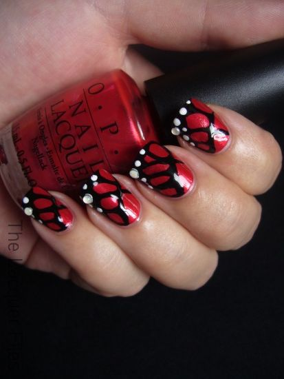 black and red nail designs | Red Butterfly Nail Art Design Monarch - Black And Red Nail Designs Red Butterfly Nail Art Design Monarch