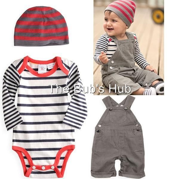 Baby Boy Overalls Boys Infant Months Size Pants Hat 3 Pcs