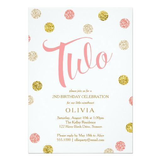 Second Birthday Invitation Pink And Gold Card