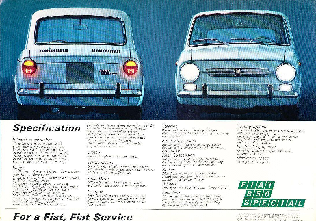 Fiat 850 Special Original Car Sales Brochure Folder - 1970 1971 in   eBay
