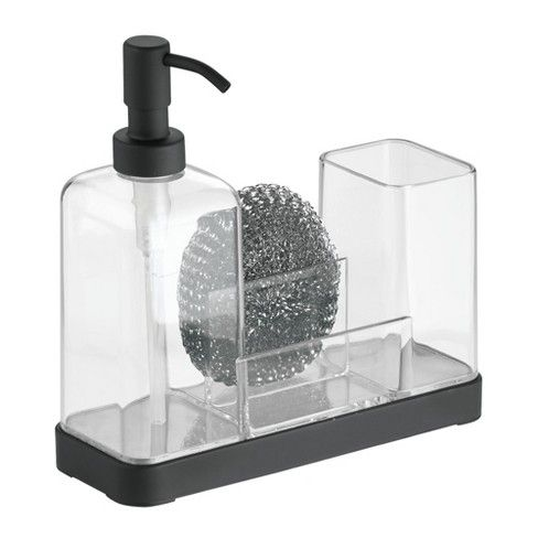 Interdesign Forma Plastic Soap Pump And Amp Brush Caddy 16oz Clear Kitchen Soap Dispenser Soap Dispenser Soap Pump