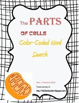 Color Coded Word Search Cell Parts Cell Parts Coding Words