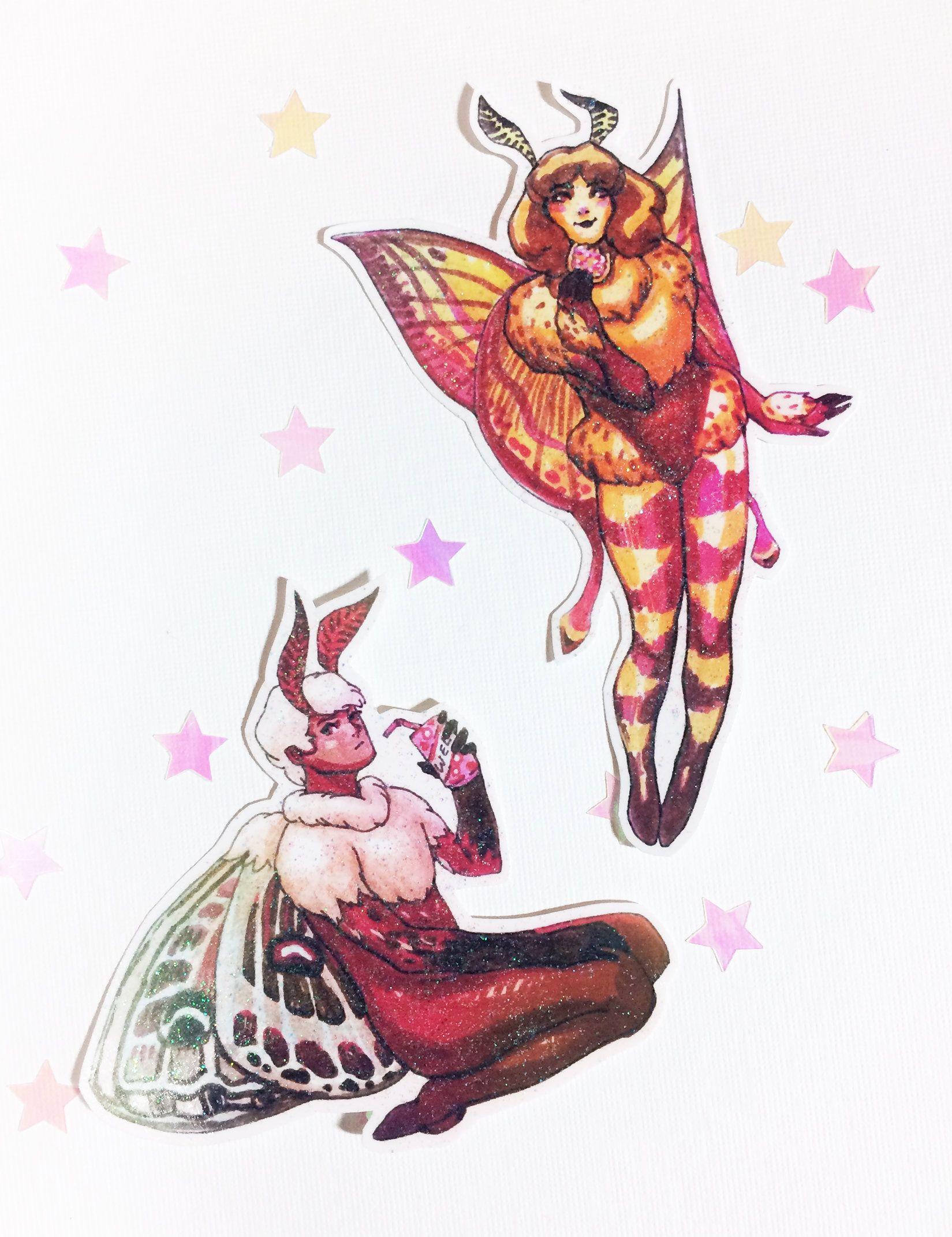 Glitter moth people sticker pack manga moth boy stickers