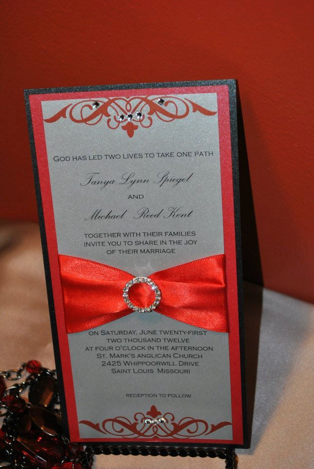 red black and silver wedding red silver and black wedding invitation flat card with