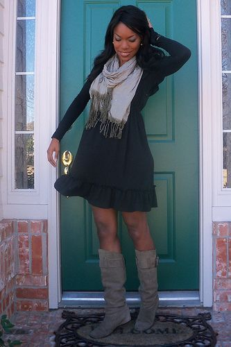 Dresses and slouch boots :))