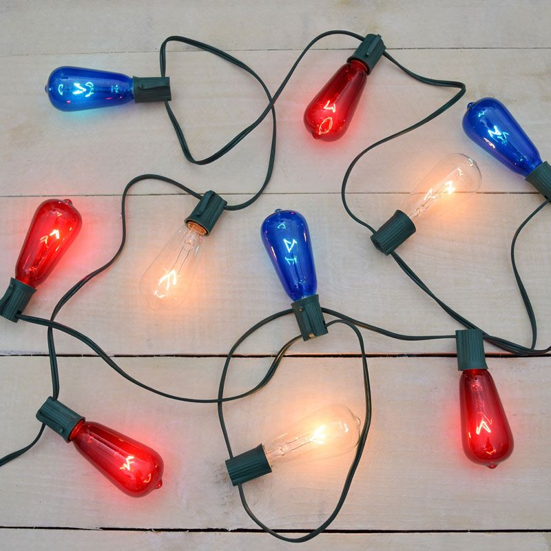 Red white blue st40 patriotic string lights holiday lighting red white blue st40 patriotic string lights mozeypictures Images