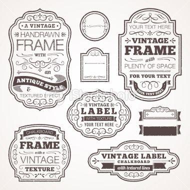 Vector Illustration Of Some Vintage Styled Frames Single Color Vintage Text Text Frame Frame Clipart