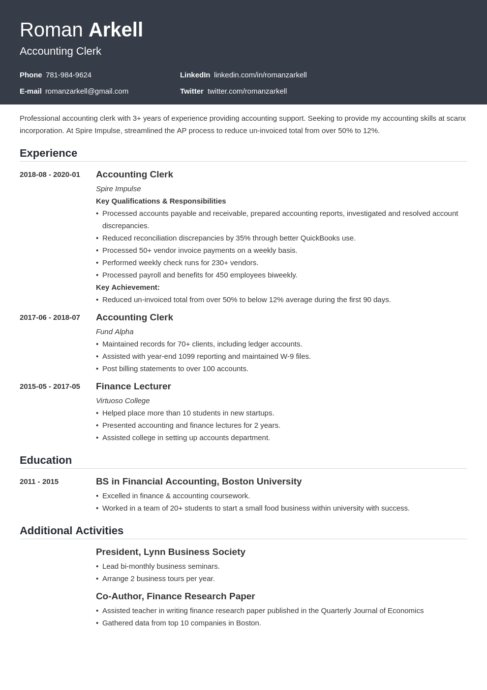 accounting clerk resume example template influx in 2020