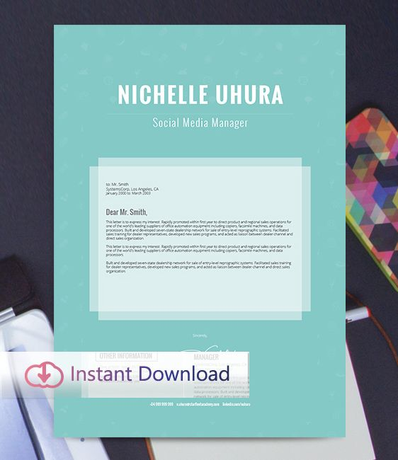 FREE EDIT - Resume Template and Free Cover Letter, Professional - social media manager cover letter