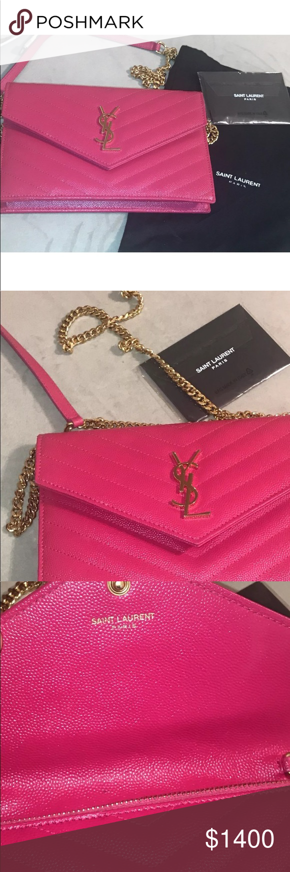 29cb14c31b New-Authentic YSL New-Authentic-Yves-Saint-Laurent-Ysl-Monogram-Chain-Wallet-Cross  Body -Bag-Pink New with tag and dust bag Yves Saint Laurent Bags ...